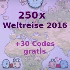 250x Weltreise 2016 + 30x Weltreise 2016 Bonus