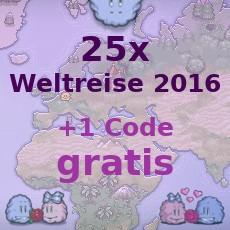 25x Weltreise 2016 + 1x Weltreise 2016 Bonus