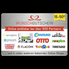 25€ Wunschgutschein - in über 500 Shops einlösbar!